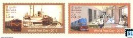 Sri Lanka Stamps 2017, Post Day, Train, Trains, Ship, MNH - Sri Lanka (Ceylon) (1948-...)