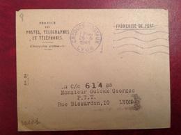 Franchise Chèques Postaux Lyon 1944 PTT CCP Guieux - Marcofilia (sobres)