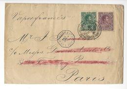 VENEZUELA LETTRE 1895 POUR PARIS YT 52 Et 53 Cachet Paquebot COLON A SAINT NAZAIRE + PARIS ETRANGER /FREE SHIPPING R - Venezuela