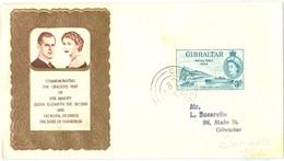 Gibraltar 1942 Airmail Censor Cover To UK Slogan Pmark, 1954 Royal Visit Cover - Gibraltar