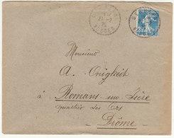 ESC 25c Semeuse O. Facteur Boitier Gerbepal Vosges  1925 - Marcofilia (sobres)