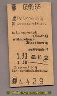 L07) Pappfahrkarte DR --> Dresden Hbf 8 - Langebrück (1965) - Bahn