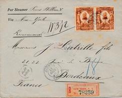 Lettre Jacmel Haiti Via New-York, Recommandé New-York Pour Bordeaux Cover - Haïti