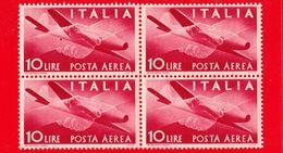 Nuovo - MNH - ITALIA - 1945 - Democratica - POSTA AEREA - 10 L. • Stretta Di Mano, Caproni-Campini 1 - Quartina - 6. 1946-.. Repubblica
