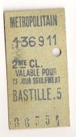 ANCIEN TICKET DE METRO PARIS BASTILLE . 5  CP1613 - Subway