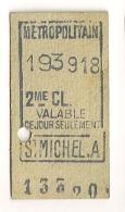 ANCIEN TICKET DE METRO PARIS SAINT MICHEL. A   CP1613 - Subway
