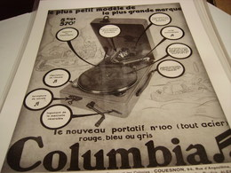 ANCIENNE PUBLICITE GRAMOPHONE PORTATIF COLUMBIA - Other