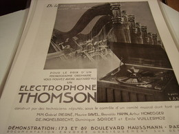 ANCIENNE PUBLICITE MACHINES ELECTROPHONE THOMSON - Other