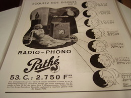 ANCIENNE PUBLICITE RADIO-PHONO PATHE 1935 - Other