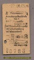 L07) Pappfahrkarte DR --> Annaberg Buchholz - Königswalde (1965) - Railway