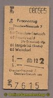 L07) Pappfahrkarte DR --> Dresden Neustadt 7 - Dresden Stetzsch (1965) - Railway