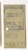 ANCIEN TICKET DE METRO PARIS AUBERVILLIERS  A  CP1614 - Subway