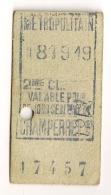 ANCIEN TICKET DE METRO PARIS CHAMPERRET CP1614 - Subway