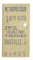ANCIEN TICKET DE METRO PARIS BASTILLE.5 CP1614 - Subway