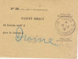 Etiquette De Sacs De Courrier Des Poilus Cad  Postes Bureau Frontière C 1916 -> Drôme - 1. Weltkrieg 1914-1918