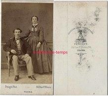 CDV Joli Couple élégant-mode Photographie Parisienne Pénigot Rue Saint Etienne à Tours - Anciennes (Av. 1900)