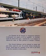 CPSM Wagon Lits Train Auto Couchettes Dauphine, Anglia,Mercédes Et Carte Pour La Distibution - Gares - Avec Trains
