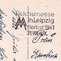 Carte Postale Reich Messe Leipzig 1941 Deutschland Völkerschlachtdenkmal - Duitsland