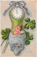 CPA Angelot Ange Chérubin Fantaisie Angel Gaufré Embossed Pendule Horloge Chaussure - Angels