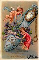 CPA Angelot Ange Chérubin Fantaisie Angel Gaufré Embossed Pendule Horloge Chaussure Année 1906 - Angels