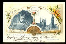 Besten Gruss Halle A.d. Saale (Kaiser-Denkmal) Marktplatz U. Umgebung / Year 1902 / Postcard Circulated, 2 Scans - Halle (Saale)