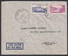 """N° 38 + PA N° 41 + Timbre Fiscal Au Verso Sur Lettre Par Avion Oblit. CAD """" Beyrputh R.P. 03/03/49 """" Pour Paris - Liban"""