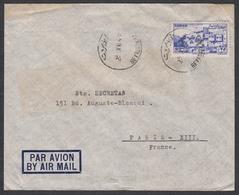 """N° 38 + Timbre Fiscal Au Verso Sur Lettre Par Avion Oblit. CAD """" Beyrputh R.P. 23/12/48 """" Pour Paris - Liban"""