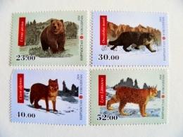 Mint Post Stamps From Kyrgyzstan 2014 Animals Fauna Wild Cat Lynx Bear Ursus Wolf Damaged - Kyrgyzstan