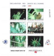 Républque Centrafric 1989 -  Bloc N° YT  17 à 25 , Neufs ** -  Statue De La Liberté, Liberty, Human Rights - Repubblica Centroafricana
