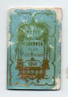 RARE Calendrier De Poche 1860, Petit Almanach Paris Dubois Trianon 4,1 X 6,1 Cm (en L'état - Calendriers