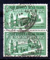 XP3909 - R.S.I. 1944 , Espresso Sassone N. 23 Usato : Coppia . Duomo - 4. 1944-45 Repubblica Sociale
