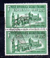 XP3910 - R.S.I. 1944 , Espresso Sassone N. 23 Usato : Coppia . Duomo - 4. 1944-45 Repubblica Sociale
