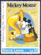 806 Sierra Leone Mickey Trombone Magazine MNH ** Neuf SC (SIE-54d) - Musique