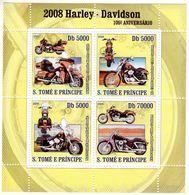 S.Tomé E Principe  -  Harley-Davidson Motorcycles  -  105e Anniversaire    -  4v Sheet Neuf/Mint MNH - Motos