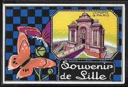CPA 59 - Lille, Souvenir - La Porte De Paris - Lille