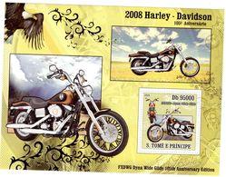 S.Tomé E Principe  -  Harley-Davidson Motorcycles  -  105e Anniversaire    -  1v Sheet Neuf/Mint MNH - Motos