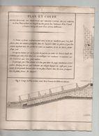 Architecture Navale Gravure Ancienne Rousseau Plan Et Coupe écluse Pertuis Grand Canal De Chine Rare - Architecture
