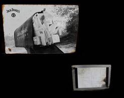 Ancienne Plaque Photographie En Métal Carte Postale Whisky Jack Daniel's Old Advertisement Tin Metal Postcard - Etats-Unis