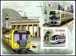 Comores Komoren Block Ungezähnt  Metros U-Bahnen  ** / MNH - Trains