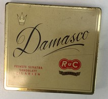 EMPTY  TOBACCO  BOX    TIN     DAMASCO   FEINSTE SUMATRA SANDBLATT - Schnupftabakdosen (leer)