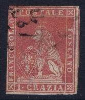 Toscana Sa 12 Mi Nr 12  Used Obl  1851 Signed/ Signé/signiert/ Approvato - Toskana