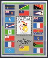 Solomon Islands 1991 9th S. Pacific Games Flags MS, MNH, SG 702 (B) - Islas Salomón (1978-...)