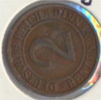 Deutsches Reich Jägernr: 307 1923 J Sehr Schön Bronze 1923 2 Rentenpfennig Ährengarbe (9157970 - 2 Rentenpfennig & 2 Reichspfennig