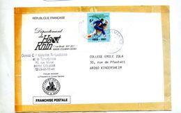 Lettre Cachet Colmar Sur Timbre Anti Tuberculeux 1991 Non Conforme - Marcophilie (Lettres)