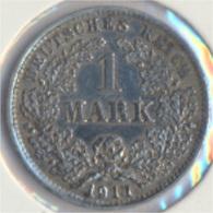 Deutsches Reich Jägernr: 17 1911 D Sehr Schön Silber 1911 1 Mark Großer Reichsadler Im Eichen (9157978 - 1 Mark