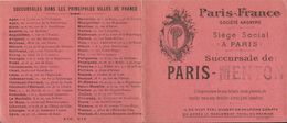 MENTON . PARIS FRANCE . POUR SOSPEL - Chèques & Chèques De Voyage