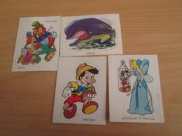 PUBLICITAIRE LOT De 4 AUTOCOLLANTS VACHE QUI RIT DISNEY PINOCCHIO Années 70 - Stickers