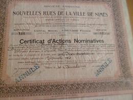 Certificat D'actions Nominatives De La Société Nouvelles Rue De La Ville De Nîmes 1919 - Shareholdings