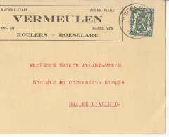 Belgique - 425 Obl. : Roeselare  Sur Carte Postale Anciens Etabl. Vermeulen Voorm. Firma Roulers - Roeselare - Bélgica