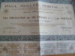 Action 150 Francs Au Porteur Paul Muller Portal Nîmes 1939 - Shareholdings